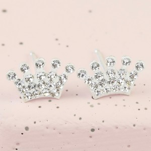 Sterling Silver Diamante Crown Stud Earrings in White