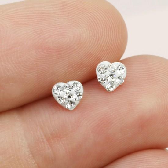 Sterling Silver Diamante Heart Stud Earrings in White