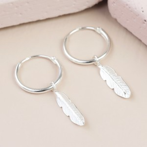 Sterling Silver Feather Charm Hoop Earrings