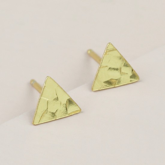 Sterling Silver Gold Hammered Triangle Stud Earrings