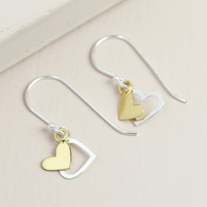 Sterling Silver Mixed Metal Double Heart Drop Earrings