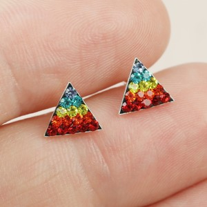 Sterling Silver Rainbow diamonte  Triangle Stud Earrings