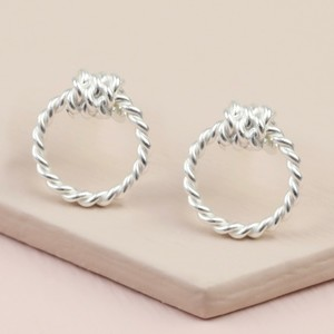 Sterling Silver Rope Hoop Stud Earrings