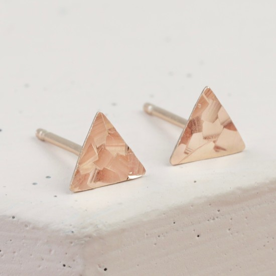 Sterling Silver Rose Gold Hammered Triangle Stud Earrings