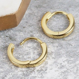 Tiny Gold Sterling Silver Wide Hoop Earrings