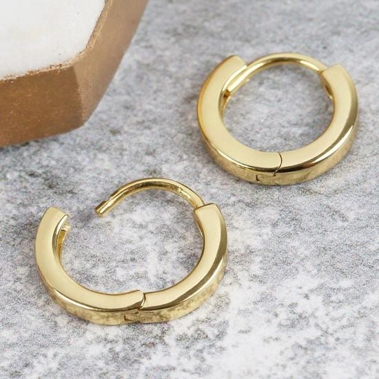 Tiny Gold Sterling Silver Wide Hoop Earrings