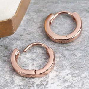 Tiny Rose Gold Sterling Silver Wide Hoop Earrings