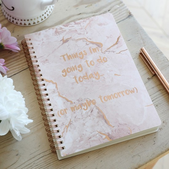 'Things I'm Going To Do' Pink Marble A5 Notebook