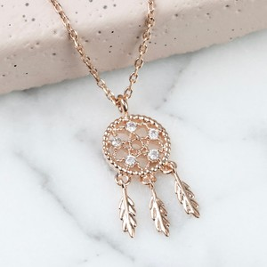 Rose Gold Clear gem Dreamcatcher Necklace