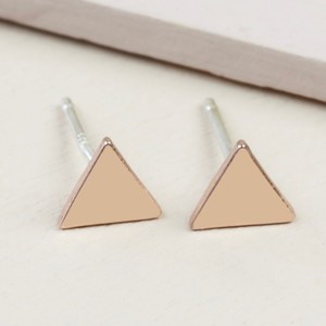 Rose Gold Shiny Triangle Stud Earrings