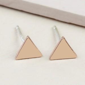 Rose Gold Shiny Triangle Stud Earrings