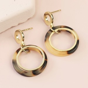 Tortoiseshell Gold Hoop statement earrings