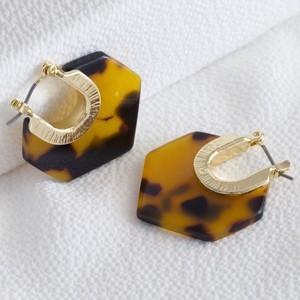 Tortoiseshell Resin Hexagon Earrings