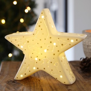 White LED Constellation Ceramic Standing Star Decoration