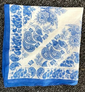 Blue and White Block Printed Neck Scarf