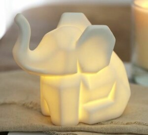 Mini Ceramic Origami Elephant LED Light