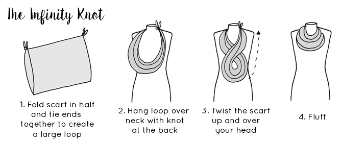 Ways to tie a scarf - Infinity Scarf tying guide