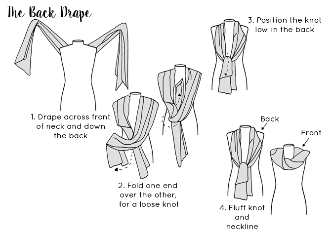 Ways to tie a scarf - The Back Drape Scarf tying guide