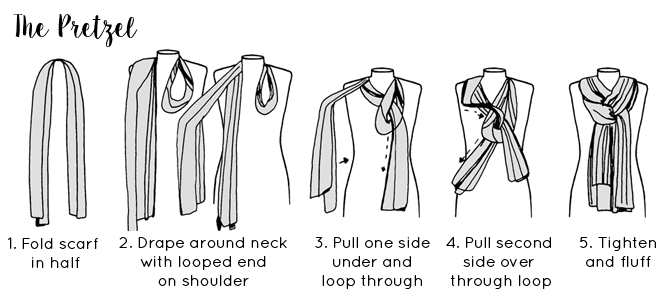 Ways to tie a scarf - The Pretzel Scarf Tying guide