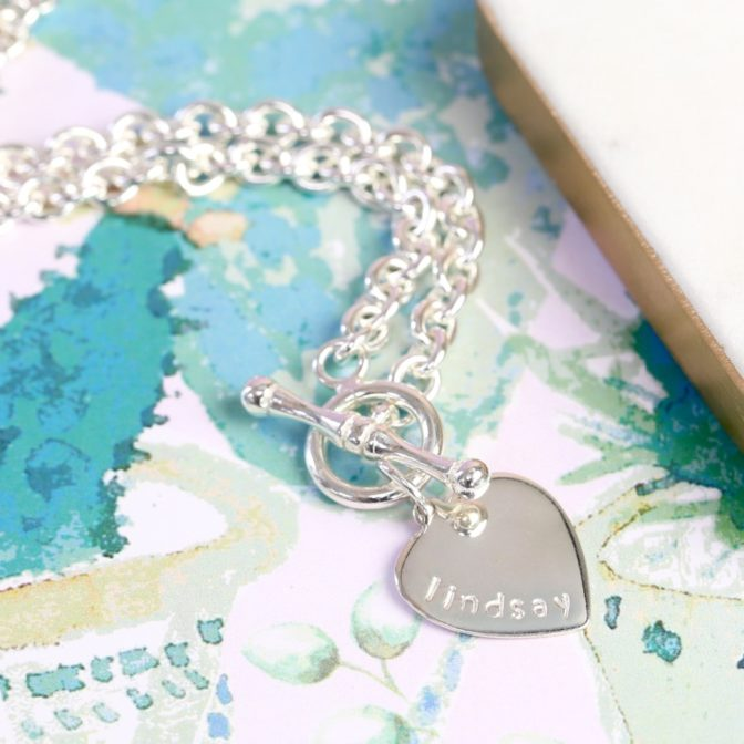 Sterling Silver Personalised Toggle Necklace